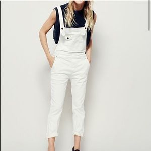 Free People Washed Off White Denim Overalls 24